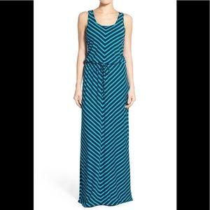 CASLON Drawstring Waist Maxi Dress - Chevron Print